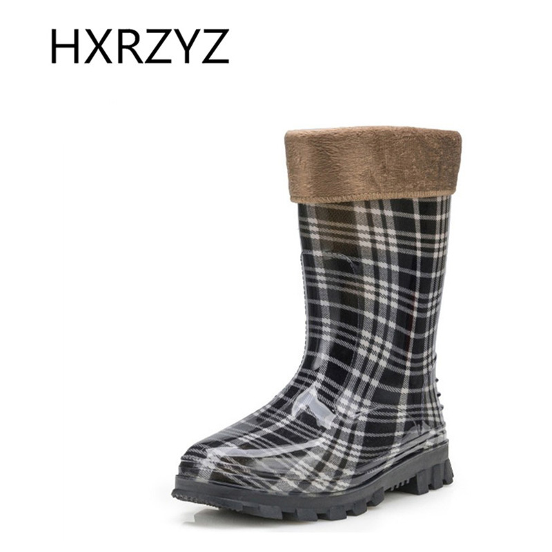 ФОТО spring lady non-slip Plus cotton warm rubber boots overshoes detachable large size wave point jelly water shoes rain boots women