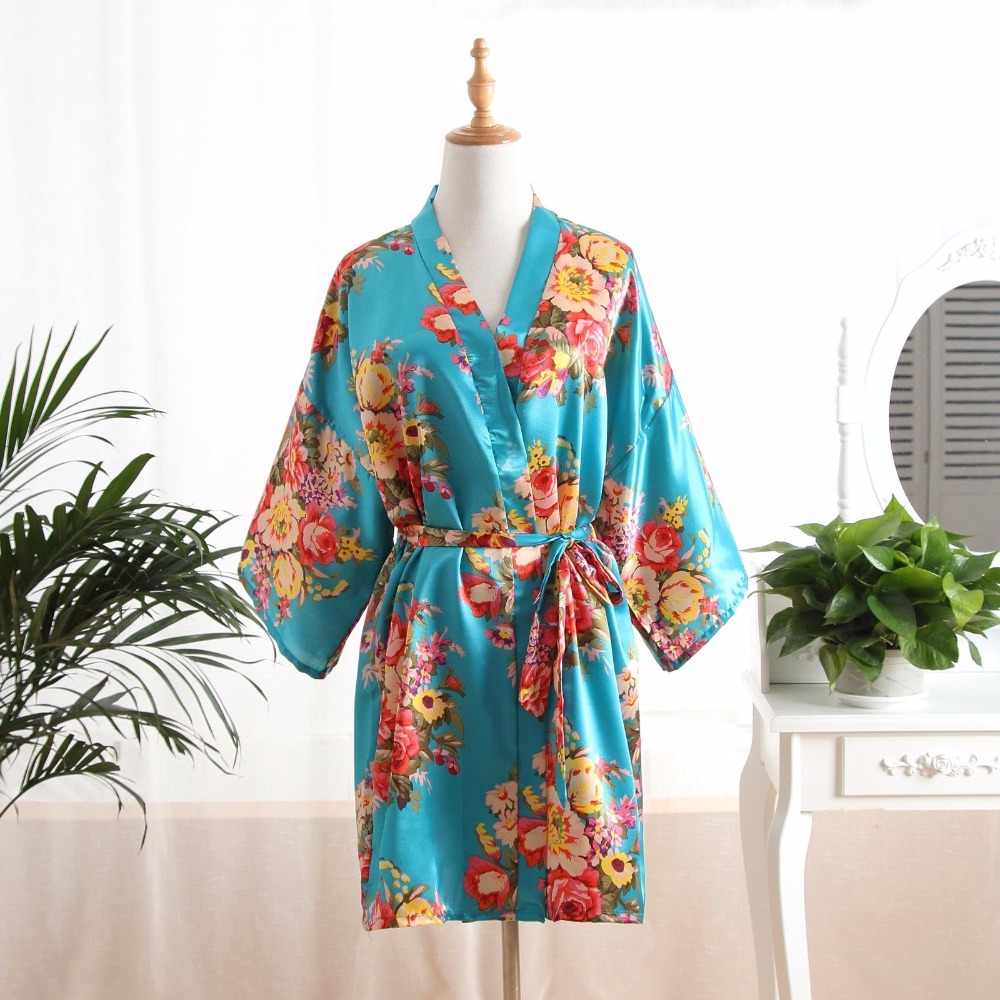 Fashion Floral Bathrobe Ladies Satin Robe Dress Gown Women Elegant Nightgowns Kimono Lad ...