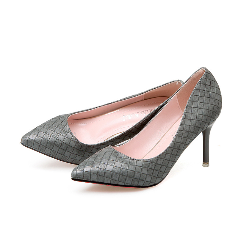 2017 New Spring Summer Fashion Pointed Toe for Women Casual High Heels Slip On Lady Shoe Gray Leisure Mirror Shine Simplicity new spring summer women flats brand casual women shoes flat heels pu fashion crystal shoe pointed toe soft soles