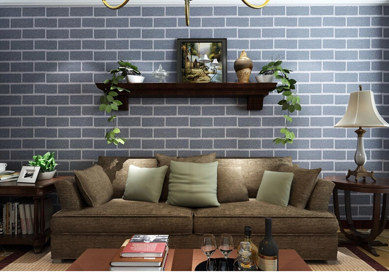 Modern 3d stone wallpaper for pvc grey red white brick for Grey brick wallpaper living room