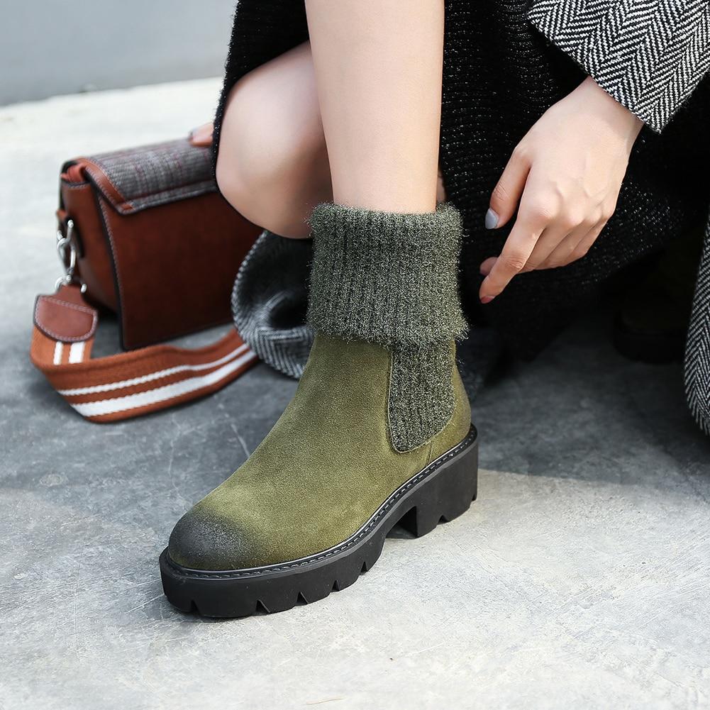 Cuero Negro verde Mujer Botas Tacón Zapatos Vaca Por Venta Grueso De Ante Llegada Punto Al Mayor Sarairis Moda Nueva U0TqTwR