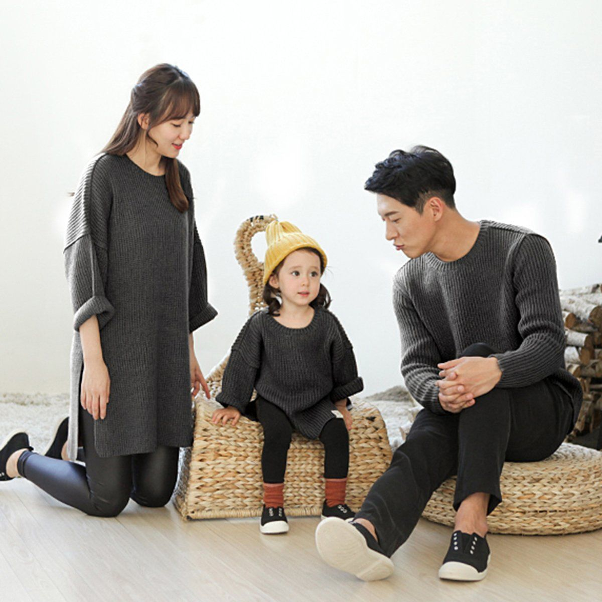 ФОТО Father Mother Baby Kid Family Matching Sweater Hi-Q Cashmere Knitwear Jumper Top