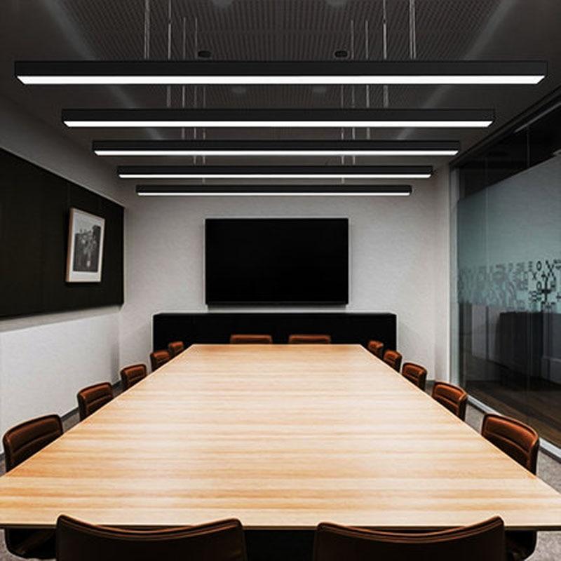 Office Lamp Led Strip Light Hanging Line Rectangular Meeting Room Lighting Modern Mall Studio Office Hanging Lamps