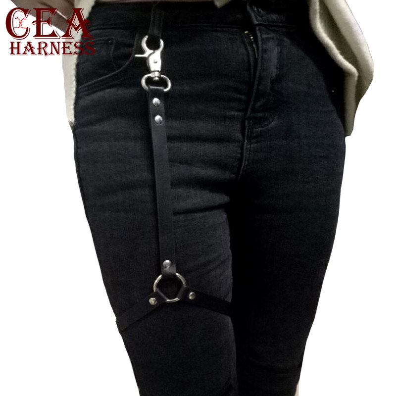 CEA.HARNESS 2019 Fashion Cool Gothic Pu Leather Garter Belt Waist Straps Thigh High Leg Harness Suspender For Shorts Jeans Pant