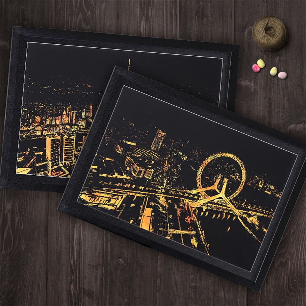 Quality In Decorative Painting Scratch Scraping Painting Drawing Paper World Sightseeing Pictures Home Decoration Birthday Gifts Superior