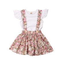 Newborn Infant Baby Girls Summer Ruffle Sleeveless Tops Solid T shirt Floral Overalls Skirts Outfits Clothes Set 1-5Y 2019 все цены