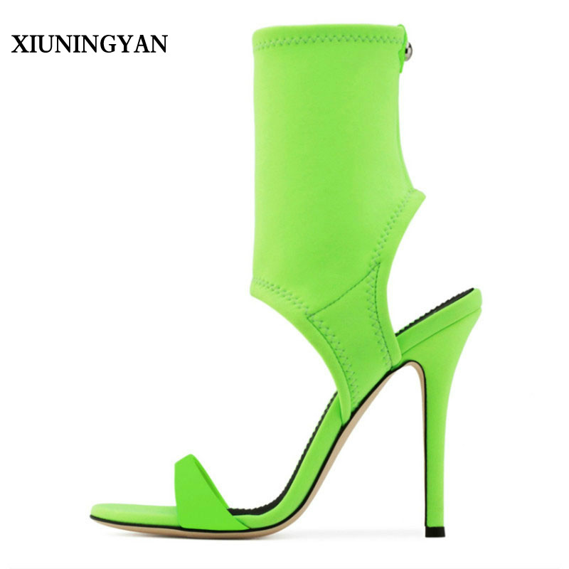 XIUNINGYAN Womens Sandals Boots Elastic Sock Shoes Lady Open Toe High Heels Fashion Ankle Boots Women Pumps Sandals Size 33-44