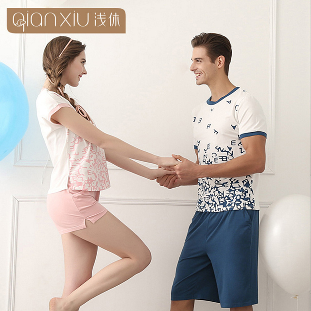 Qianxiu Pijama Fijado Para la pareja de Punto Modal hombre Ropa de Dormir Pareja Ocasional Pijamas para Las Mujeres