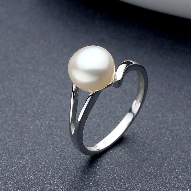Sinya 925 Sterling Silver Pearl Wedding Ring For Women Girls Lover Pearl Dia 8mm Fashion Design Jewelry Engagement Ring