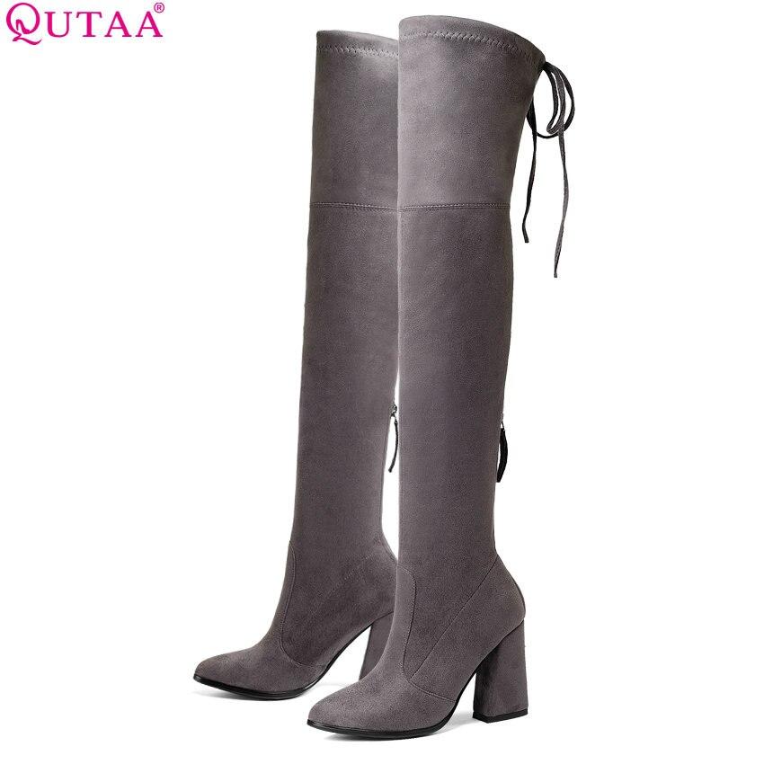 QUTAA 2019 Women Over The Knee High Boots Fashion Women Shoes Platform Hoof Heels Sexy Stretch Fabric Women Boots Size 34-43
