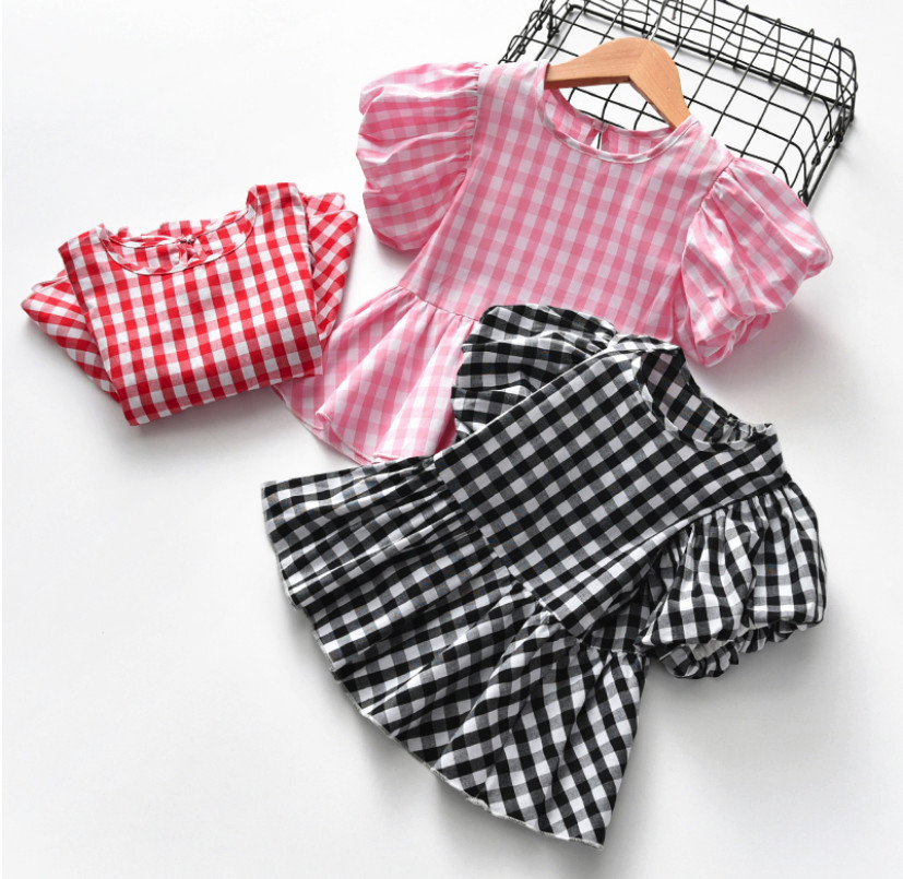 Fashion Baby Children Clothes Kids Plaid Lantern Short Sleeve T Shirts Baby Girls Princess Shirts Toddler Casual Tops Party GiftFashion Baby Children Clothes Kids Plaid Lantern Short Sleeve T Shirts Baby Girls Princess Shirts Toddler Casual Tops Party Gift