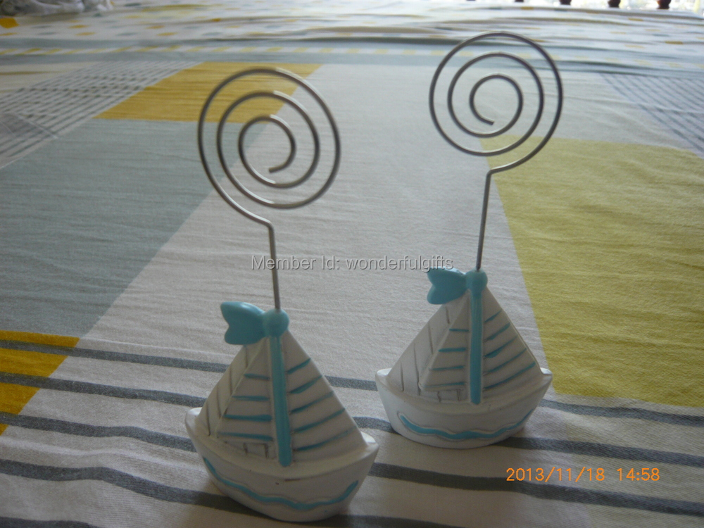 Free shipping Factory directly sale 100PCS/LOT wedding favor Resin Sailboat place card holder favor