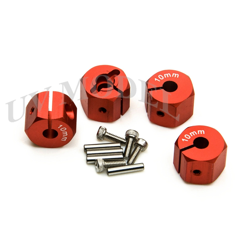 4Pcs 12mm Aluminum HEX Wheel Hub 10mm Thickness For 1/10 RC Rock Crawler Car Truck Parts Red High Quality Free Shipping 1 pair car aluminum wheel spacer adapter hub flange 5x100 25mm for mg5 mg6 mg7 mg350 mg550 mg750