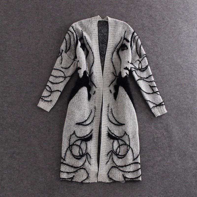 New Autumn Spring 2019 Women Sweater Cardigans Casual Warm Long Design Female Knitted Sweater Coat Printed Cardigan Sweater Lady