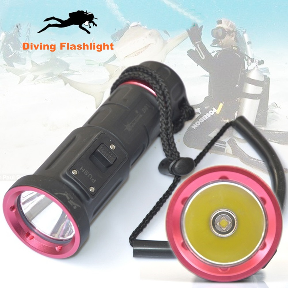 D01 Diving led Flashlight Cree XM-L2 U2 18650 Waterproof Underwater Torch Flash LED light Lamp nitecore mt10a 920lm cree xm l2 u2 led flashlight torch