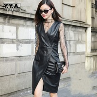 Vintage Women 2018 Sexy Slit Sleeveless Sundress Genuine Leather V Neck OL Party Vestidos Female Straps Knee Length Slim Dresses