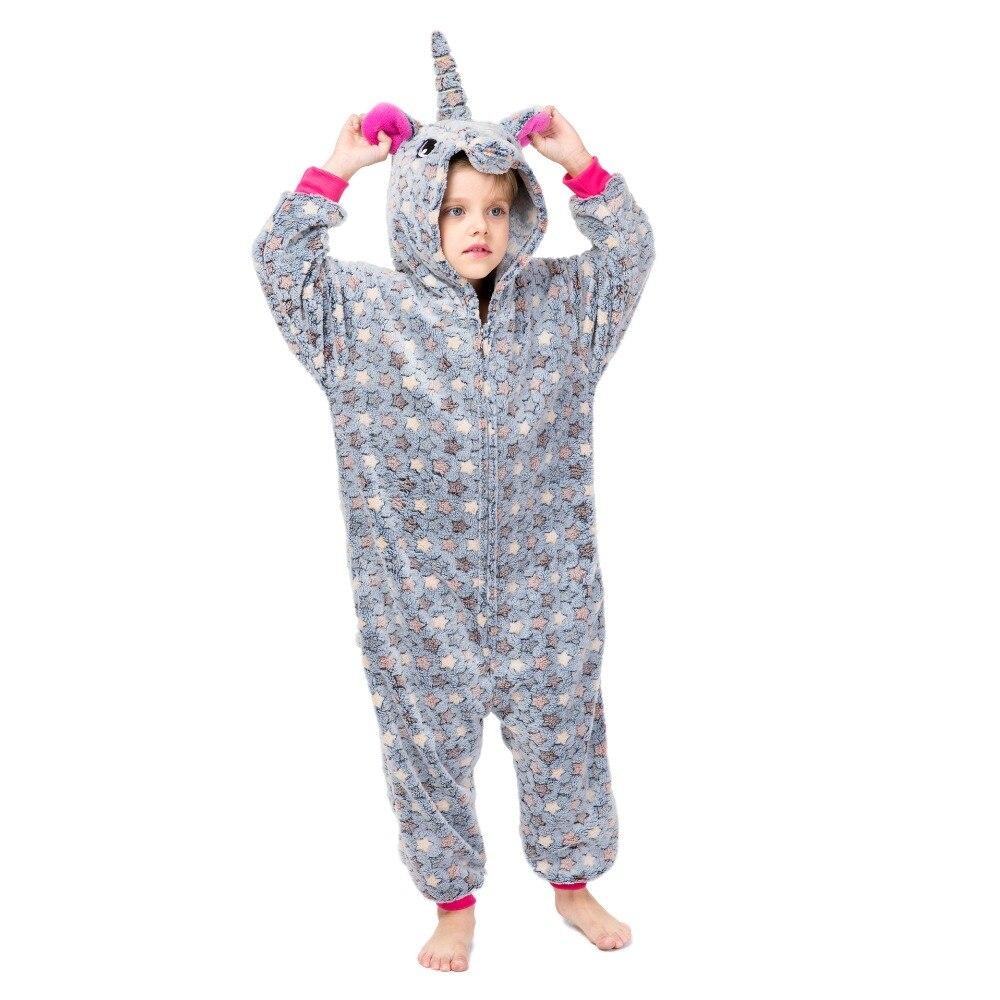 Jungen Mädchen Pyjamas Einhorn Teen Onesie Winter Flanell Overalls Kinder Pyjamas Einhorn Kinder Nachtwäsche Tier Pyjamas 3-18 Jahre
