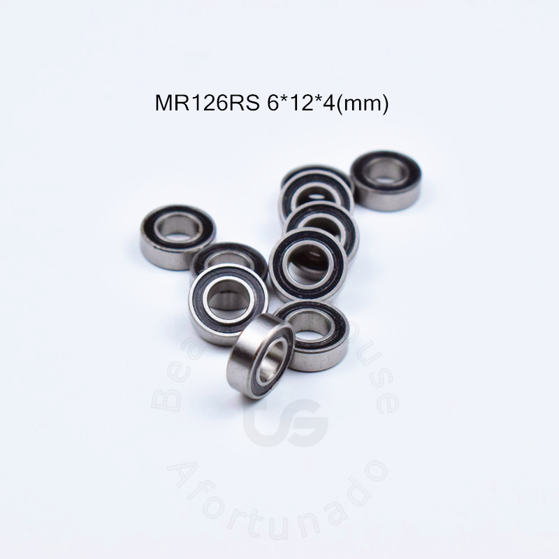 MR126RS 6*12*4(mm) 10pieces Free Shipping Bearing ABEC-5  Rubber Sealed Miniature Bearing MR126 MR126RS Chrome Steel  Bearings