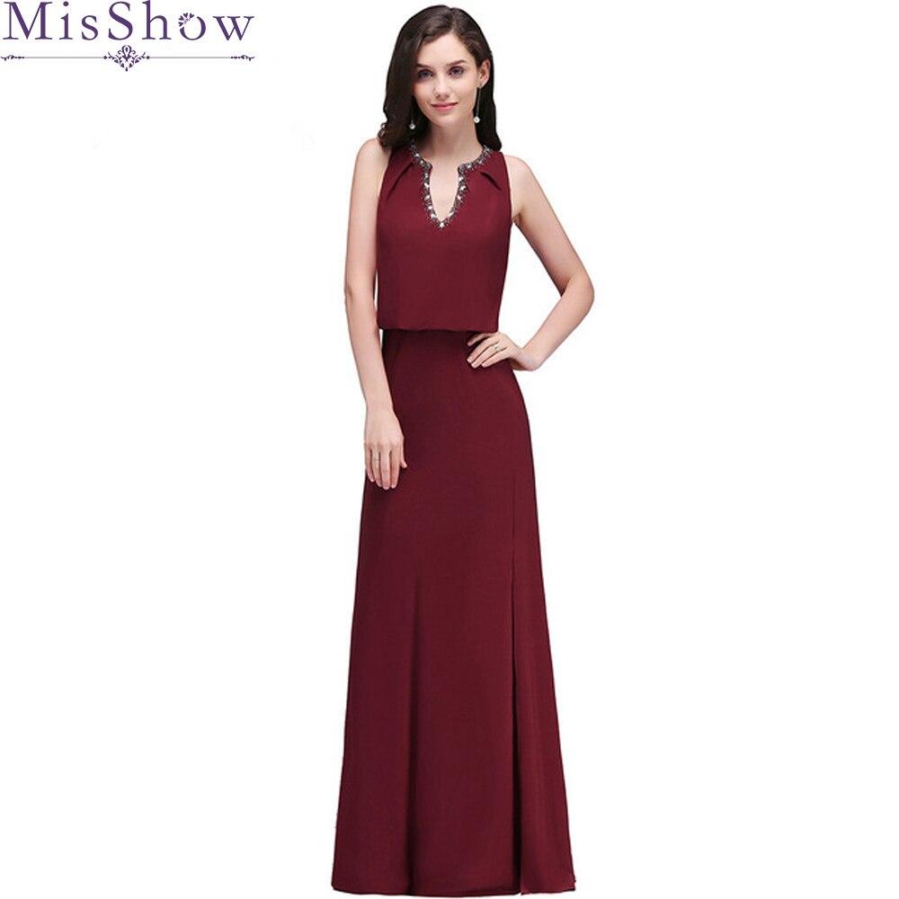 in stock! Long burgundy   Bridesmaid     Dress   2019 V Neck Chiffon Formal Party Gown Vestido da dama de honra Wedding Party   Dresses