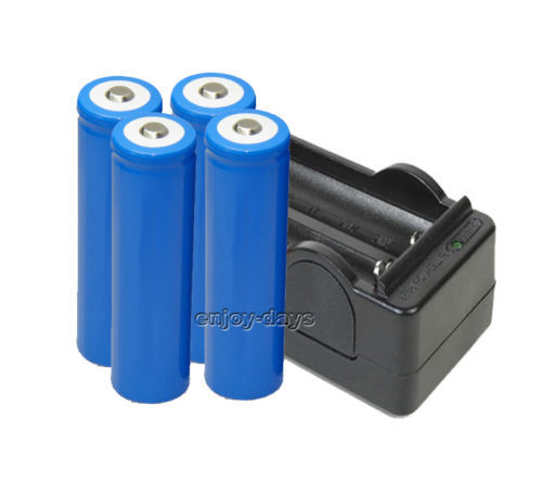 New 4pcs Li-ion Rechargeable 18650 LED Flashlight Battery with one charger