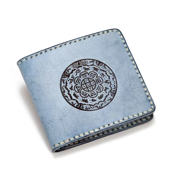 100 Hand Stitched Vintage Embossed Eight Diagrams Designer Genuine Cow Leather Men s Blue Short Wallet