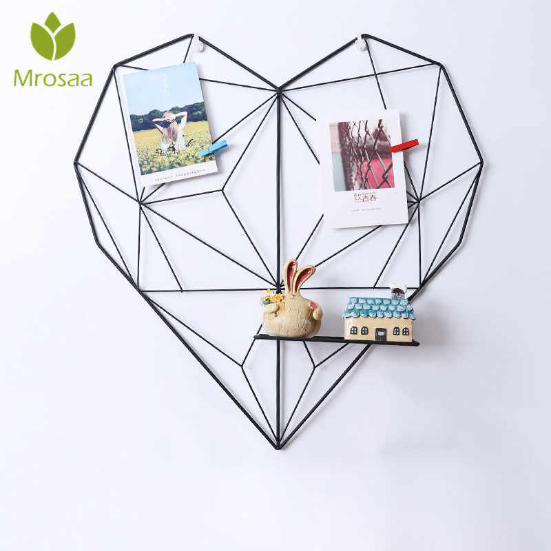 Mrosaa 51x50cm INS Nordic Style Heart Hanging Decoration Metal Mesh Grid Wall Photos Shelf Postcards Frame Storage Rack Holders