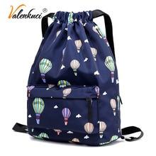 Valenkuci Fashion Drawstring Beach Bag Parachute Fashion Backpack Designers  Brand Woemn Girls Black Backpacks mochila feminina 84335ca034e4a