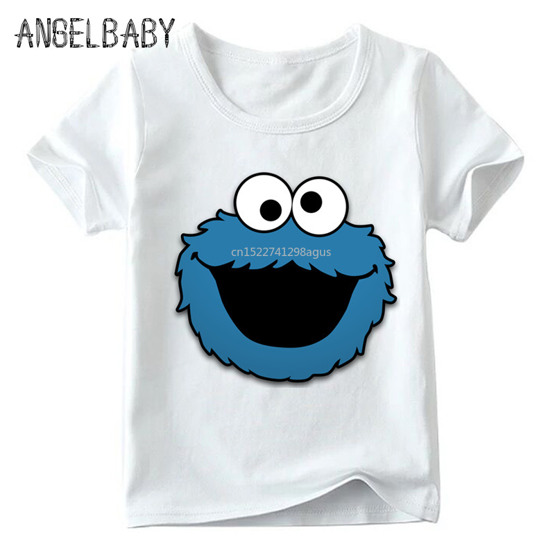 Baby Boys/Girls Sesame Street COOKIE MONSTER Print T Shirt Summer Children Cartoon Tops Kids Funny T-shirt,ooo2412