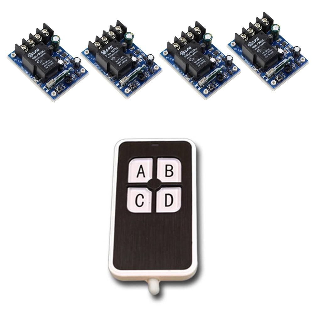 Wide Voltage DC 12V -48V 1 CH RF Wireless Remote Control 4* Receivers & 1*4Keys Transmitter Light/Led/Lamp Hot Sales