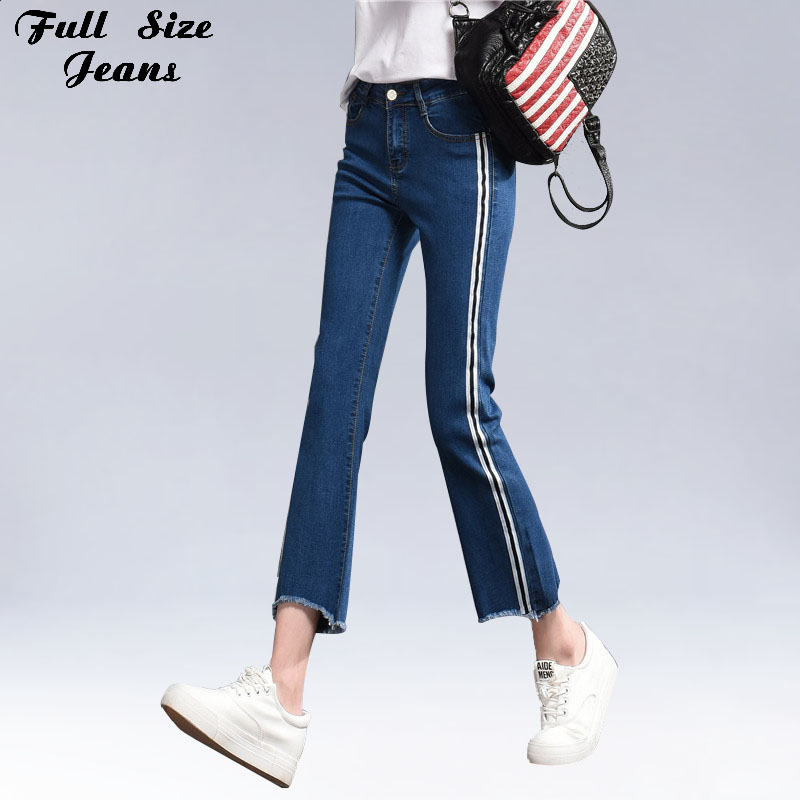 Plus Size Side Stripped Ankle Length Stretch Flare Jeans Capris 4Xl 5Xl 7Xl Xs Raw Edge High Waist Denim Cropped Skinny Pants plus size side stripe wide leg blue capris jeans 4xl 7xl oversized tassel irregular fringe ankle length denim pants