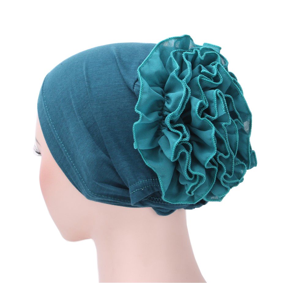 Khaki Black Headwear Women Fashion Flower Crochet Cap Cotton Chiffon Hat Hair Band Turban Bandana Bandage Hijab Accessories