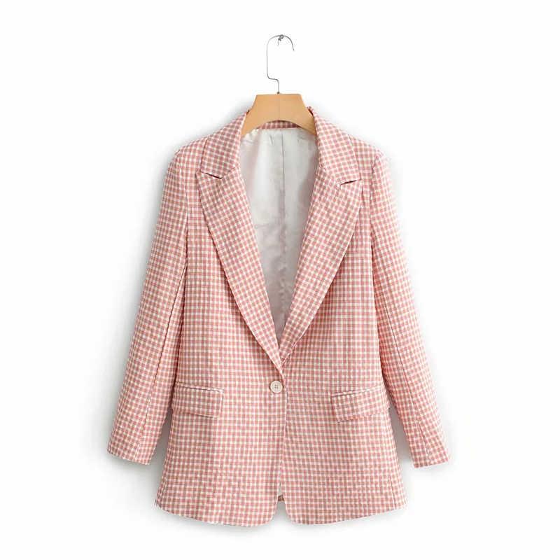 Новый дизайн 2019, корейский стиль, Женский блейзер, костюм, весенний воротник, розовая верхняя одежда женская куртка