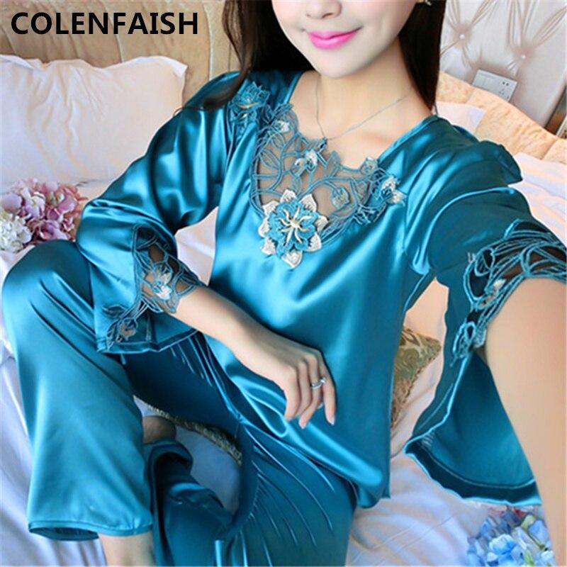 2019 All Seasons Long Sleeve Silk Pajamas Suit Women Lounge Pajama Sets  Silk Satin Pijama Sleepwear Pyjamas 7a439585d