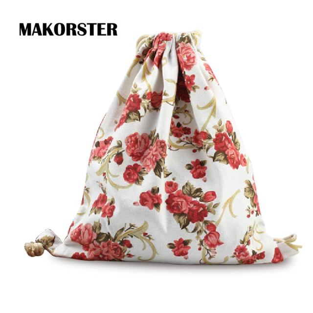 Makorster Summer Canvas Backpack Beach Drawstring Bag Fashion