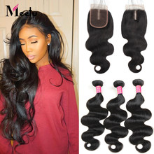 Meetu Hair Malaysian Body Wave Bundles with Closure 3 Bundles With Closure 100% Malaysian Hair Bundles with Closure Non Remy(China)