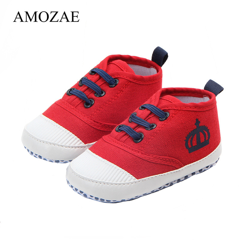 Fashion Crown Baby Shoes Boy Girls Boys Infant Toddler Newborn Lace-Up Shoes First Walker Non-Slip Kid Indoor Children's Sneaker