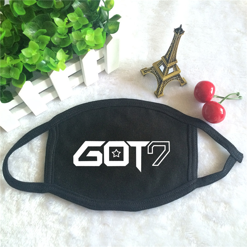 Kpop GOT7 Nestival Tour Album Logo Print K-pop Fashion Face Masks Unisex Cotton Black Mouth Mask