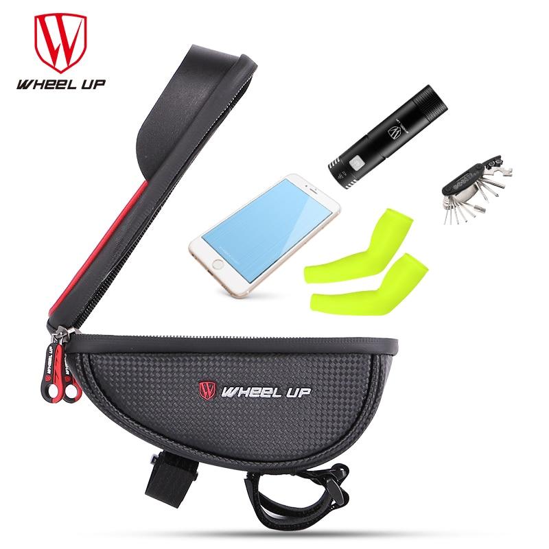 WHEEL UP Waterproof Bike Handlebar Bag Bicycle Front Tube Frame Phone Handlebar//