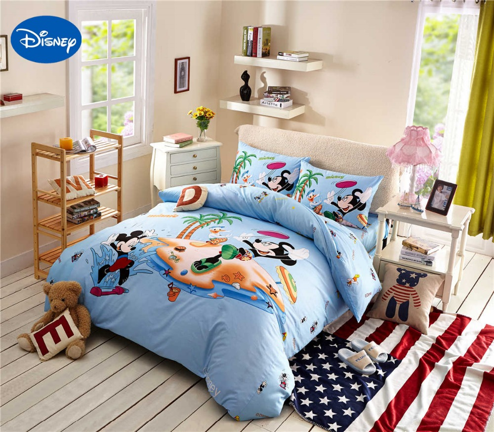 Cartoon Disney Print Bedding Set Cotton Blue Color Mickey and Minnie Mouse Comforters Bed Duvet Cover
