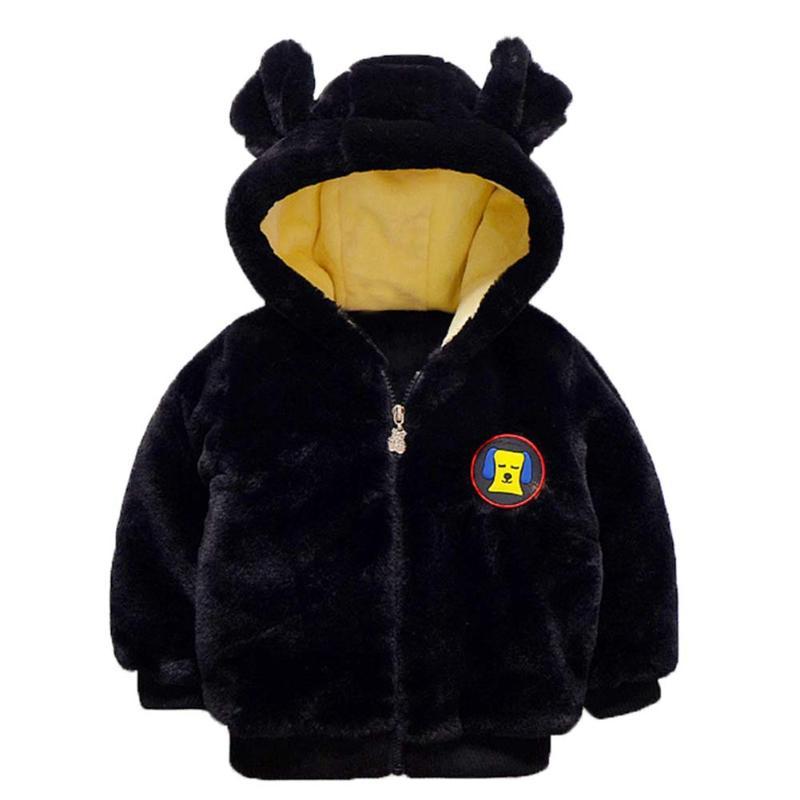 Зима 3D с рисунком собаки детские плюшевые пальто милыми ушками Детские теплые куртки с капюшоном толще Пальто с длинными рукавами для мальч...