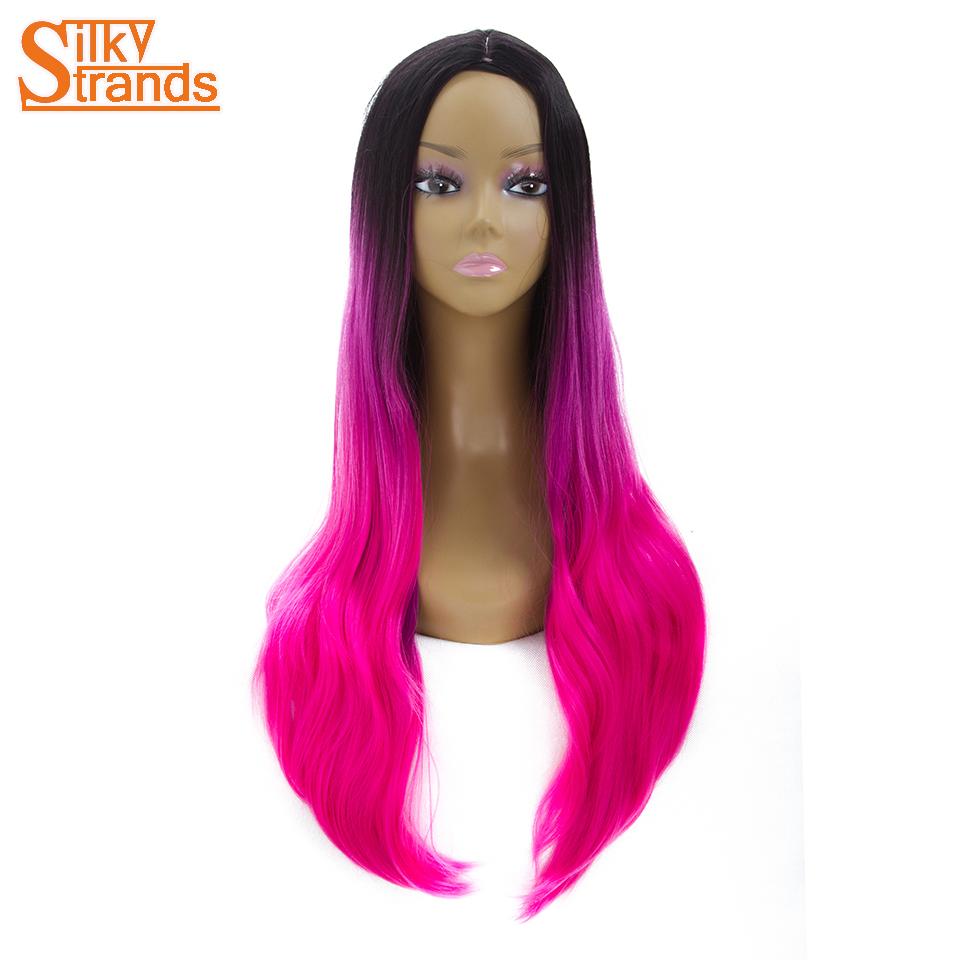 Silky Strands Long Straight Synthetic Wigs For Women Dark Pink Red Black Ombre Wig Heat Resistant Synthetic Hair