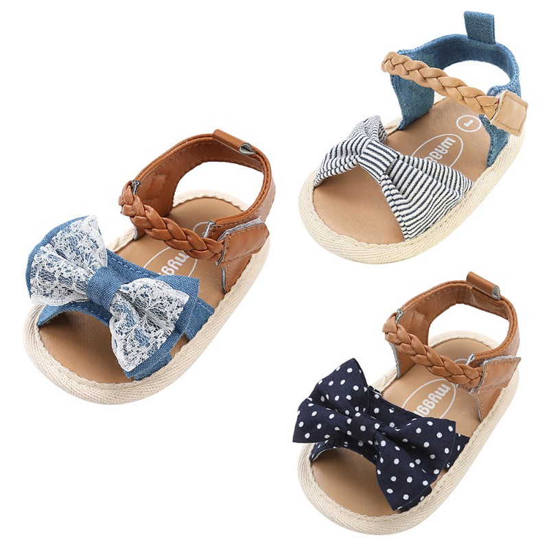 2018 Summer First Walkers Baby Girls Casual Shoes Newborn Kids Canvas Bow-knot Toddler Shoes New Fashion For 6-18M