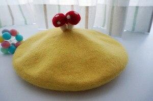 Bonito lolita meninas cogumelo decoração boina chapéu beanie cardcaptor cosplay chapéus 100% lã