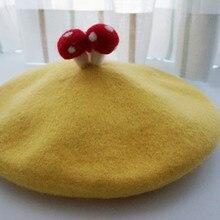 Cute Lolita Girls Mushroom Decor Beret Hat Beanie Cardcaptor Cosplay Hats 100% W