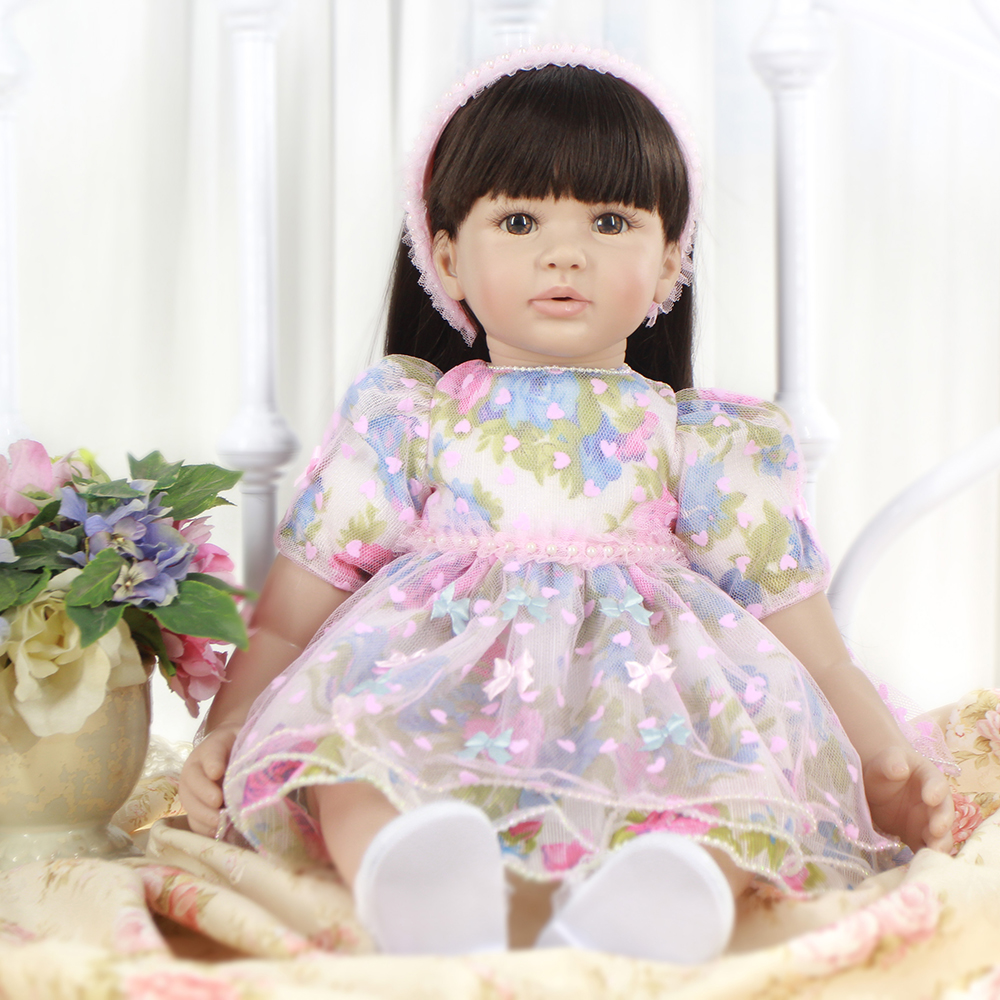 Colorful Dress Doll Silicone Reborn Baby Girl Doll Lifelike Toddler Princess Girl Doll Toys for Sale Girls Best Birthday Gifts 52cm shoulder length hair reborn toddler baby girl doll smling princess girl doll in flower dress girls toys birthday xmas gifts
