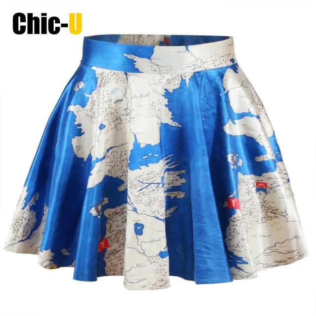 Chic U Women Skirt 2016 Cotton Blend Blue Summer Skirt 3d Print