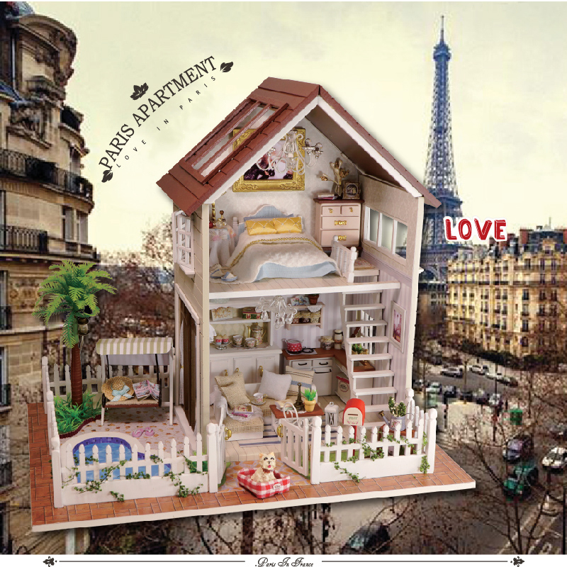 DIY Model Doll House Miniature Dollhouse with Furnitures LED 3D Wooden House Toys For Children Handmade