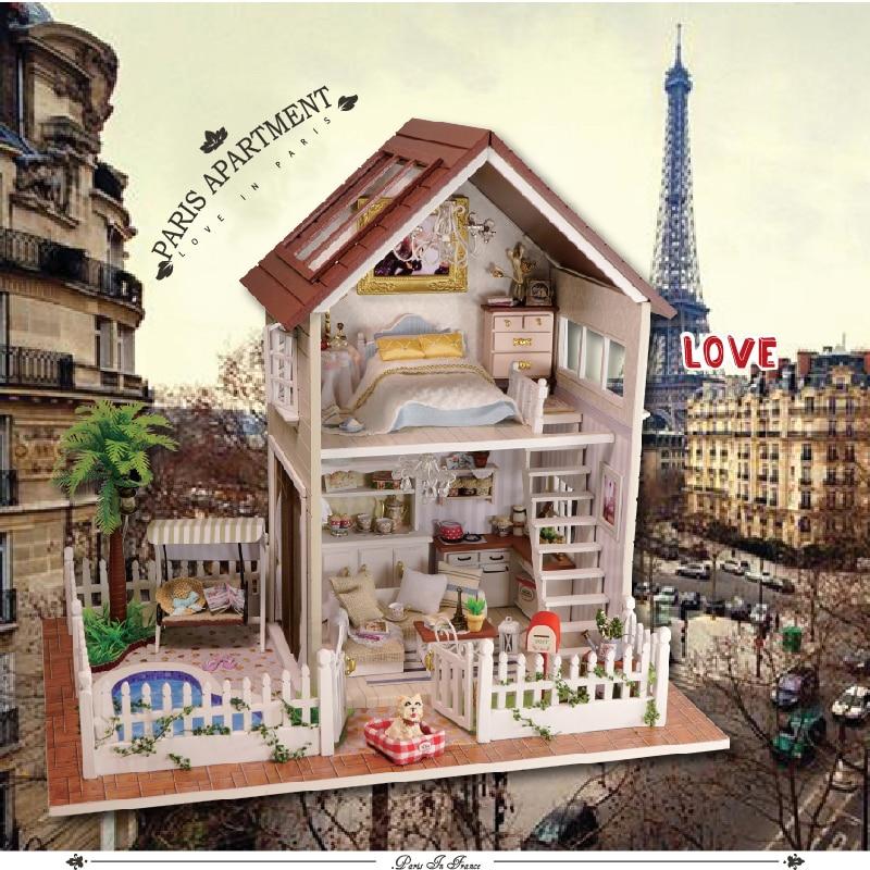 DIY نموذج دمية منزل مصغرة دمية مع اثاث LED 3D خشبية منزل اللعب للأطفال اليدوية الحرف A025 # E-في منازل الدمى من الألعاب والهوايات على  مجموعة 1