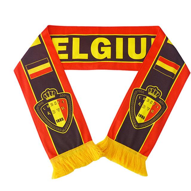 Belgium football fan scarf Liverpool Barcelona Madrid Chelsea Manchester Arsenal Fan Scarf Brazil world cup custom-made scarf