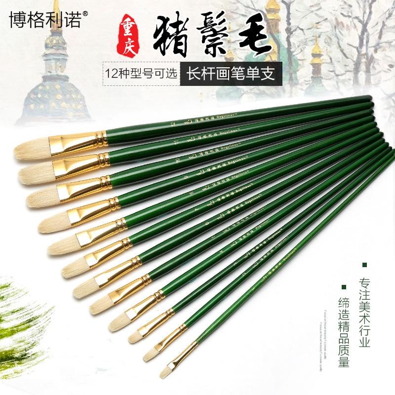 1pc ART Oil Paint Brush Pig Hair Gouache Propylene Watercolour Oil Painting Brush Long Green Handle